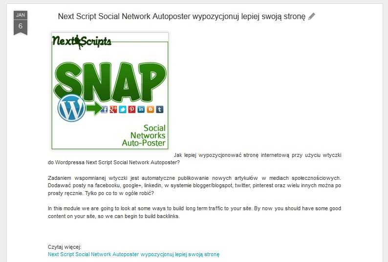 Social Network Autoposter post blogger